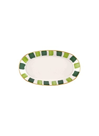 The Mia Fez Oval Servis - 4lü Set -10 x 17 x 4 Cm Yeşil Yeşil